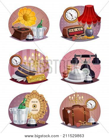 Colored vintage hotel round poster set with luggage reception card ring key phone and other elements vector illustration