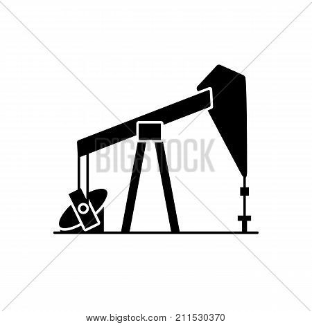 Oil rig silhouette icon in flat style. Exploration and oil production symbol isolated on white background.