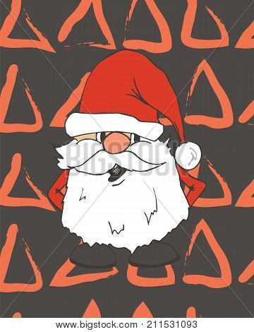 Merry Christmas card. Happy New Year, 2018 with hand drawn doodle Santa claus face