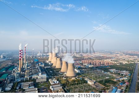 aerial view of modern large thermal power plant China