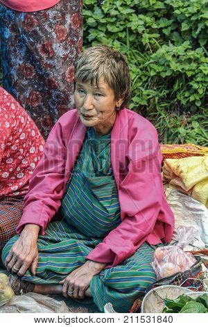 Lobesa Village, Punakha, Bhutan - September 11, 2016: Unidentified Old Woman At Weekly Farmers Marke