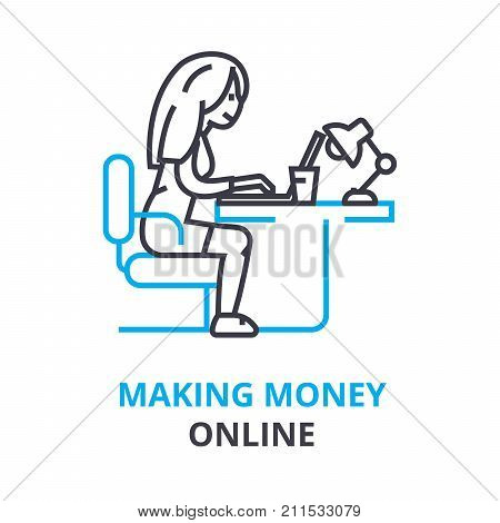 making money online concept, outline icon, linear sign, thin line pictogram, logo, flat vector, illustration