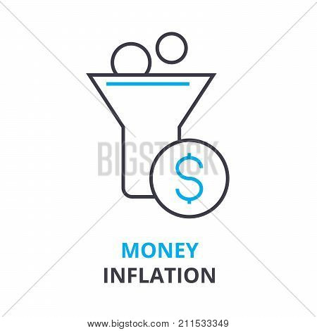 money inflation concept, outline icon, linear sign, thin line pictogram, logo, flat vector, illustration