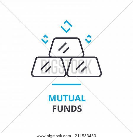 mutual funds concept, outline icon, linear sign, thin line pictogram, logo, flat vector, illustration