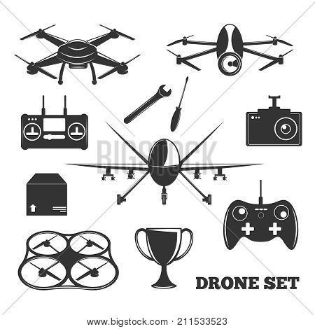 Monochrome set of drone elements with controller, photo camera, repair tools, package, trophy isolated vector illustration