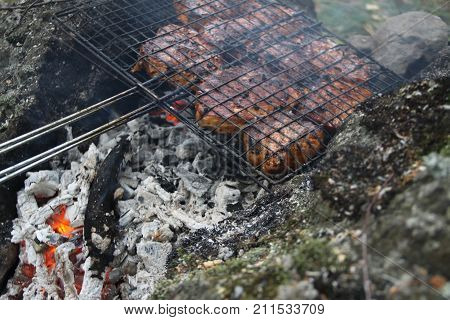 Meat cooking in a fire place in forest