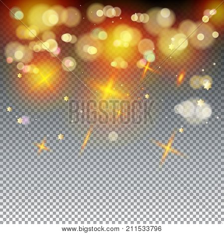 Gold abstract bokeh background, shiny defocus lights vector. Gold defocused sparkles, blurred, transparent, magic decoration. Festive Birthday party, Holiday event, celebration, aniversary, advertising design.