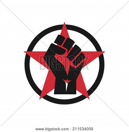 Raised fist logo icon - isolated vector illustration