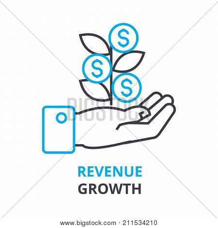 revenue growth concept, outline icon, linear sign, thin line pictogram, logo, flat vector, illustration
