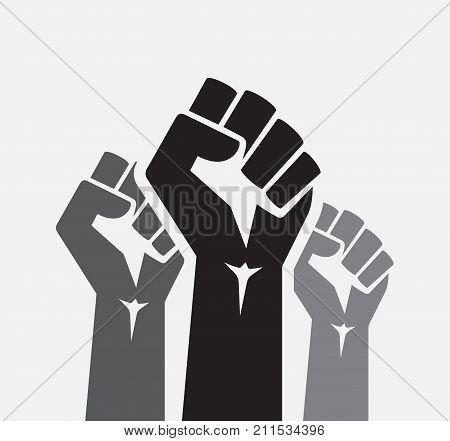Raised three fists set background - isolated vector illustration