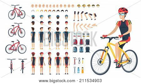 Man on bicycle with spare body parts, head in cap and helmet, set of hairstyles, drivers glasses, spacious backpack and tool kit vector illustration.