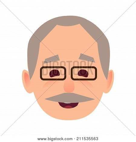 Smiling old man face icon. Grey-haired, mustached grandpa in glasses with happy facial expression flat vector isolated on white background. Pensioner cartoon portrait for user avatar illustration