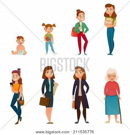 Woman life cycle from childhood to old age including school time, youth and maturity isolated vector illustration