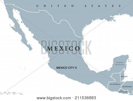 Mexico political map with capital Mexico City and national borders. United Mexican States, a federal republic in North America. Gray illustration with English labeling on white background. Vector.