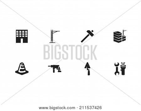 Set Of 8 Editable Structure Icons. Includes Symbols Such As Architecture, Building, Hoisting Machine And More