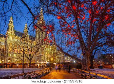 Vienna Town Hall decorated for christmas