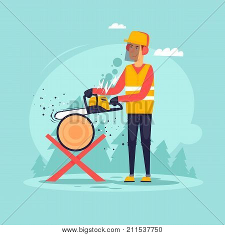 Woodcutter, sawing wood. Flat design vector illustration.