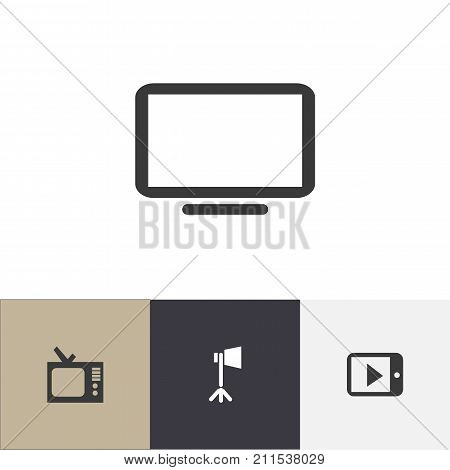 Set Of 4 Editable Movie Icons. Includes Symbols Such As Tablet Play, Studio Light, Display Unit And More