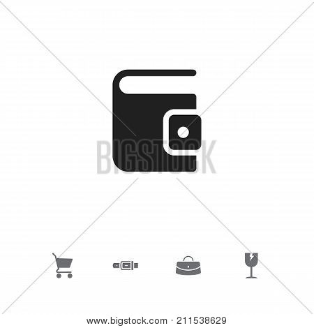 Set Of 5 Editable Business Icons. Includes Symbols Such As Reticule, Shopping Bag, Strap And More