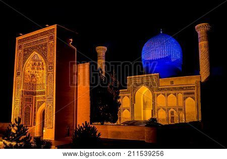 Gur-e Amir mausoleum of Timur at night - Samarkand, Uzbekistan. His architectural complex with its azure dome contains the tombs of Tamerlane, his sons and grandsons.