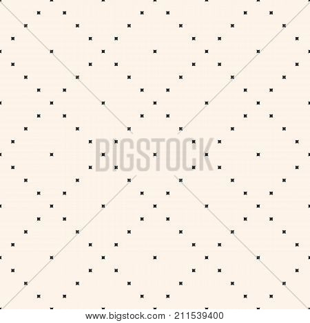 Vector minimalist pattern with tiny squares. Simple minimal abstract geometric texture. Stylish modern monochrome background. Repeat tiles, diagonal grid. Design for textile, bedding. Grid pattern. Mesh pattern. Diagonal pattern. Fabric pattern.