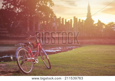 Vintage Bicycle In Sukhothai Historical Park At Sunset Time, Sukhothai, Thailand