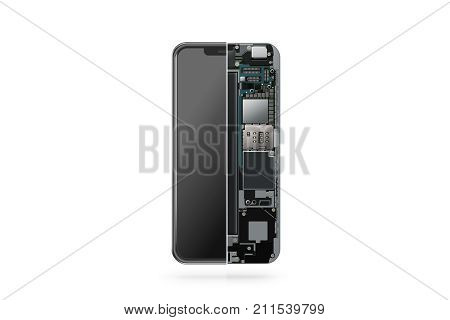 New modern smart phone internal isolated chip motherboard processor cpu and details 3d rendering. Smart phone component repair. Cellphone chipset inside. Telephone scecification disassembled