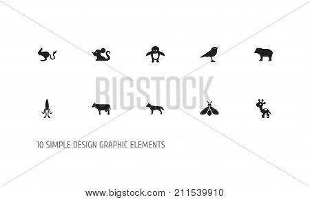 Set Of 10 Editable Zoo Icons. Includes Symbols Such As Panda, Dog, Catbird