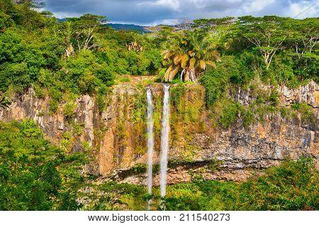 Scenic Chamarel waterfall. Beautiful landscape. Mauritius island