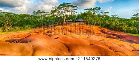 View of the seven colour earth. Beautiful landscape. Panorama. Mauritius.