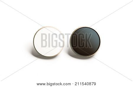 Blank black and white round gold lapel badge mock up front view 3d rendering. Empty luxury hard enamel pin mockup. Golden clasp-pin design template. Expensive square brooch for logo presentation