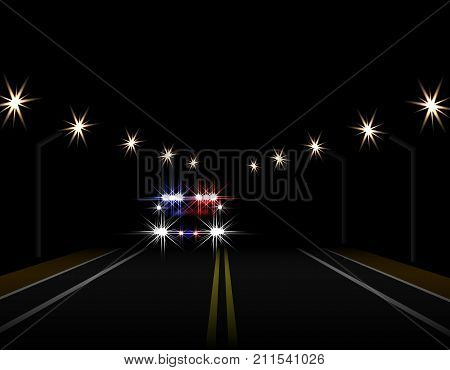 Abstract light effects. Police car at night with lights in front. Road, highway, lampposts. Vector illustration