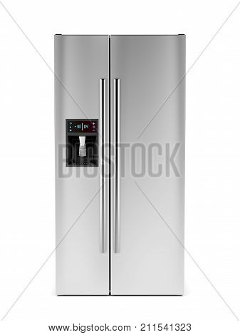 Side-by-side refrigerator with ice and water dispenser on white background, 3D illustration