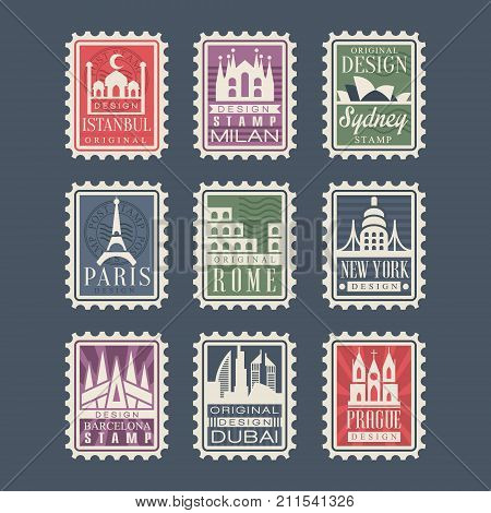 Collection of stamps from different countries with architectural landmarks, vector Illustrations, city stamps with symbols of Istanbul, Milan, Sydney, Paris, Rome, New York, Barcelona, Dubai, Prague