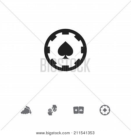 Set Of 5 Editable Game Icons. Includes Symbols Such As Card Pair, Ace Of Diamonds, Merlot And More