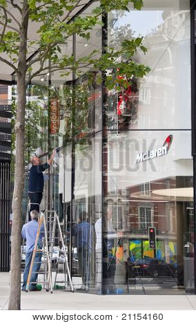 LONDON, UK - JUNE 19: The McLaren showroom is almost ready for its opening on Tuesday June 21st for the official launch of the new MP4-12C on Knightsbridge on June 19, 2011 in London, UK.