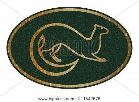 Sable animal vector image. Fur animal emblem or label. Gold stylized silhouette on green background.