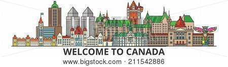 Canada outline skyline, canadian flat thin line icons, landmarks, illustrations. Canada cityscape, canadian vector travel city banner. Urban silhouette