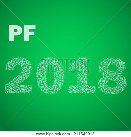 Green Happy New Year Pf 2018 From Little Snowflakes Eps10