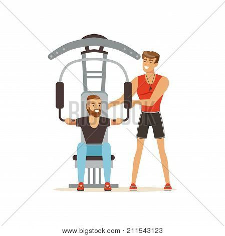 Professional fitness coach and man flexing muscles on trainer gym machine, people exercising under control of personal trainer vector Illustration on a white background