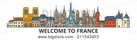 France outline skyline, french flat thin line icons, landmarks, illustrations. France cityscape, french vector travel city banner. Urban silhouette