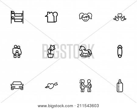 Set Of 12 Editable Kin Outline Icons. Includes Symbols Such As Lovers, People, Daughter And More