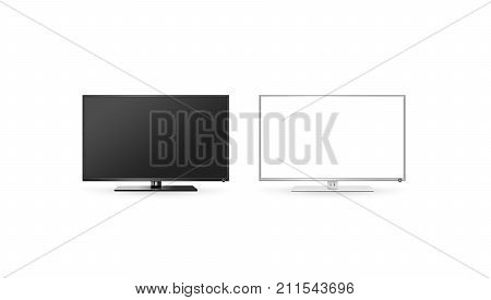 TV lcd flat screen mock up isolated black and white set 3d rendering. Hd telly monitor mockup front view. Modern electronic multimedia panel mock-up. Display television digital boxes.