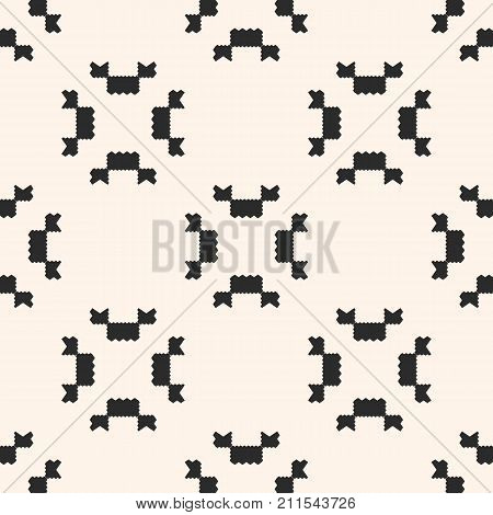 Vector geometric seamless pattern. Ornamental tribal texture with small jagged shapes, angular figures. Abstract monochrome repeat background. Square versatile design for decoration, textile. Ornamental pattern. Geometric pattern. Squares pattern.