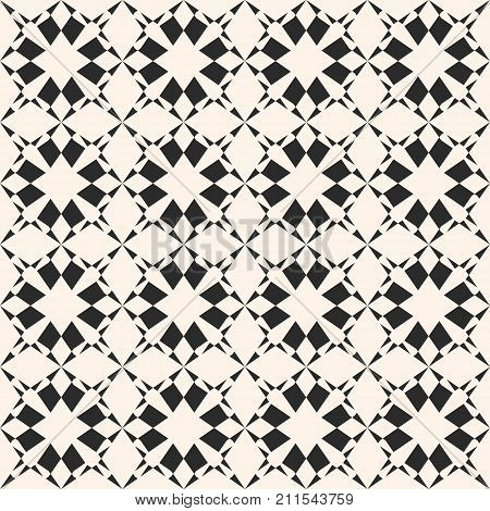 Geometric ornament texture. Vector monochrome seamless pattern with star shapes, carved grid, floral motif. Abstract ornamental black and white background, repeat tiles. Design for decoration, prints. Grid pattern. Ornamental pattern. Floral pattern