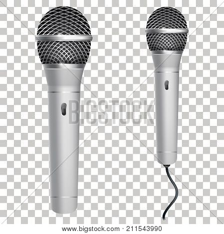 Realistic silver microphone isolated on transparent background. Professional karaoke microphone with wire. Vector illustration. Eps 10.