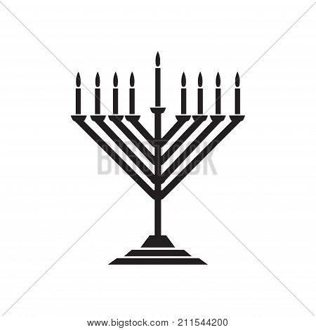 Menorah - Hanukkah traditiona symbol, candelabrum and candles, isolated on white background. Vector Chanukah Jewish Holiday banner.