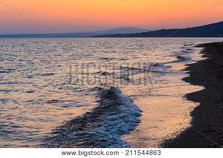 Sea Sunset On Beach, Greece.