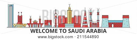 Saudi Arabia outline skyline, arab flat thin line icons, landmarks, illustrations. Saudi Arabia cityscape, arab vector travel city banner. Urban silhouette