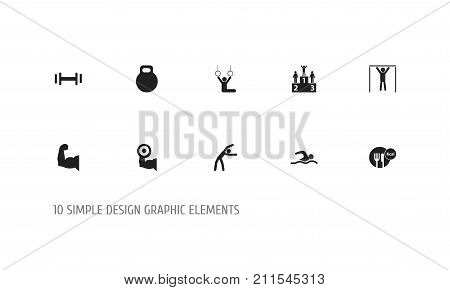 Set Of 10 Editable Sport Icons. Includes Symbols Such As Street Workout, Heft, Biceps And More
